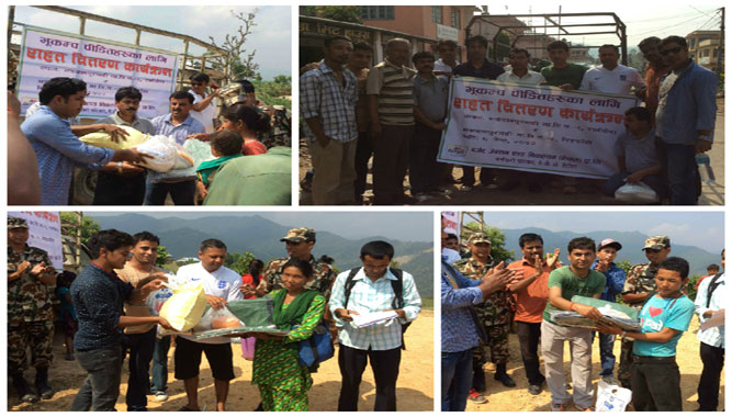 Providing Relief Materials: Earthquake victims of Makwanpur